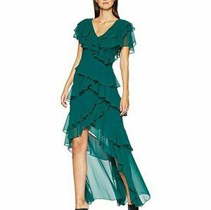 Badgley Mischka Dark Emerald Waterfall Dress